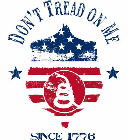 Don't Tread on Me. Snake on Shield. Red, White and Blue.
