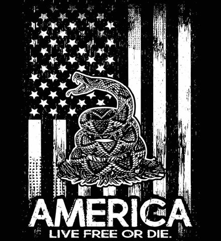 America. Live Free or Die. Don't Tread on Me. White Print.