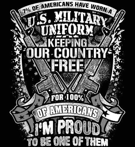 7% of Americans Have Worn a Military Uniform. I am proud to be one of them. White Print.