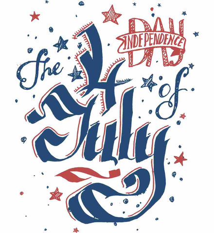The 4th of July. Ribbon Script.