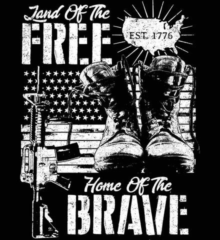 Land Of The Free. Home Of The Brave. 1776. White Print.
