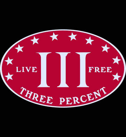 Three Percent. Live Free. Red with White Text.