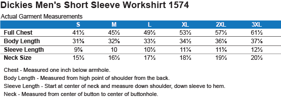 Sizing Chart: USA. Inside Star. Red, White and Blue. : Dickies Men's Short Sleeve Workshirt