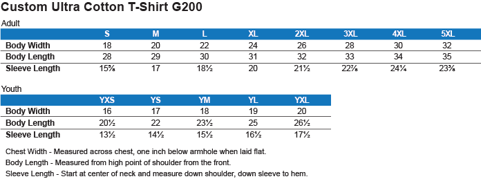 Sizing Chart: Bleed the Blue. Grungy Blue Line Flag. : Gildan Ultra Cotton T-Shirt