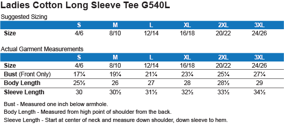 Sizing Chart: Land of the Free. : Gildan Ladies Cotton Long Sleeve Shirt