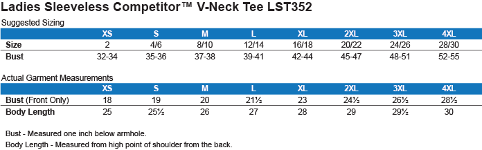 Sizing Chart: Airborne Division. United States. : Sport-Tek Ladies' Sleeveless Moisture Absorbing V-Neck