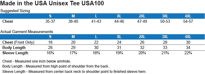 Sizing Chart: 4th of July with Stars and Stripes. : Port & Co. Made in the USA T-Shirt