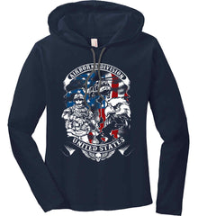 Airborne Division. United States. Women's: Anvil Ladies' Long Sleeve T-Shirt Hoodie.