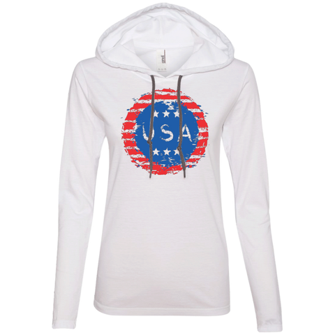 Grungy USA. Women's: Anvil Ladies' Long Sleeve T-Shirt Hoodie.