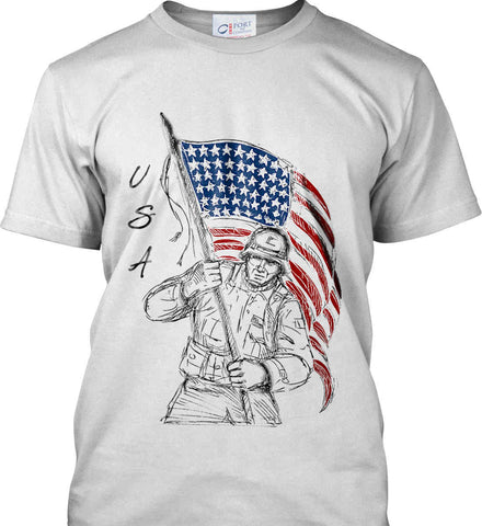 Soldier Flag Design. Black Print. Port & Co. Made in the USA T-Shirt.