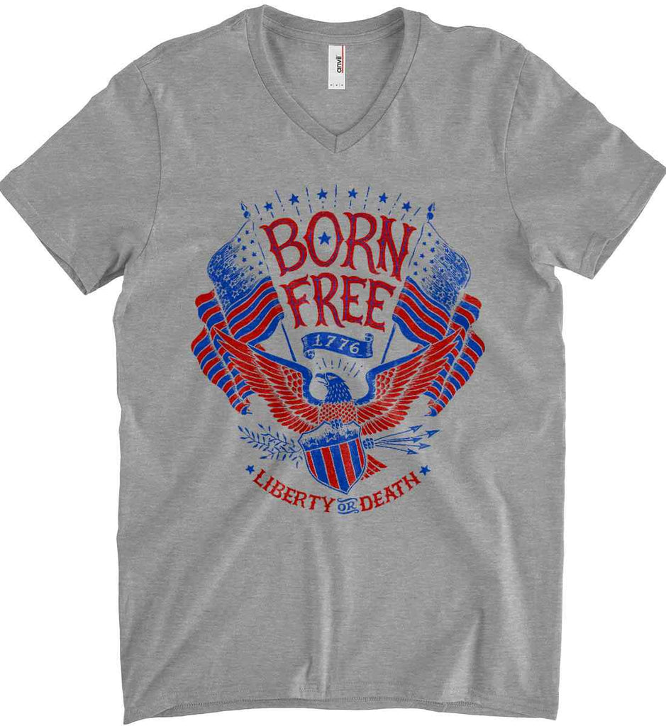 Born Free 1776. Liberty or Death. Anvil Men's Printed V-Neck T-Shirt.-1