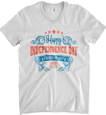Happy Independence Day. Fourth of July. 1776. Anvil Men's Printed V-Neck T-Shirt.