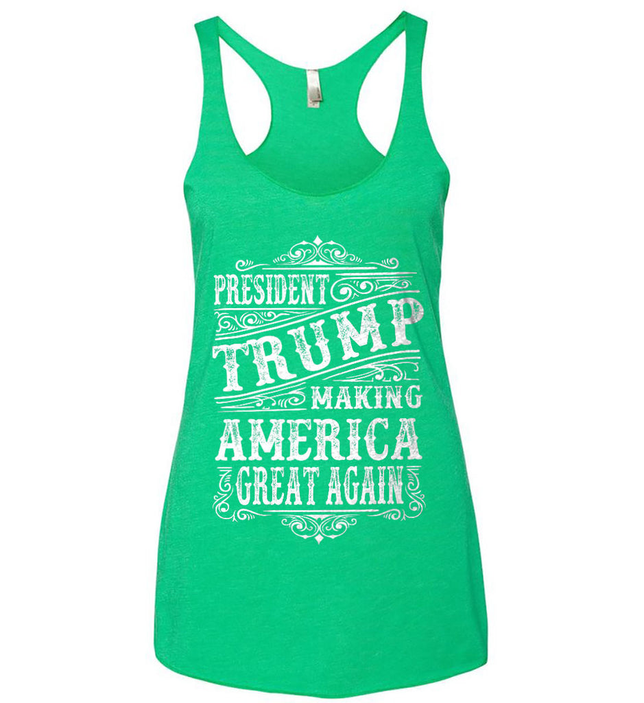 President Trump. Making America Great Again. Women's: Next Level Ladies Ideal Racerback Tank.-3