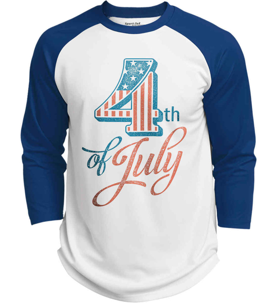 4th of July. Faded Grunge. Sport-Tek Polyester Game Baseball Jersey.-7