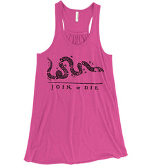 Join or Die. Black Print. Women's: Bella + Canvas Flowy Racerback Tank.