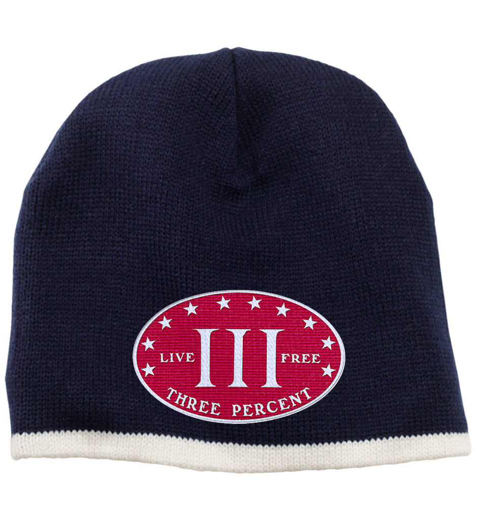 Three Percenter. Live Free. Hat. 100% Acrylic Beanie. (Embroidered)-5