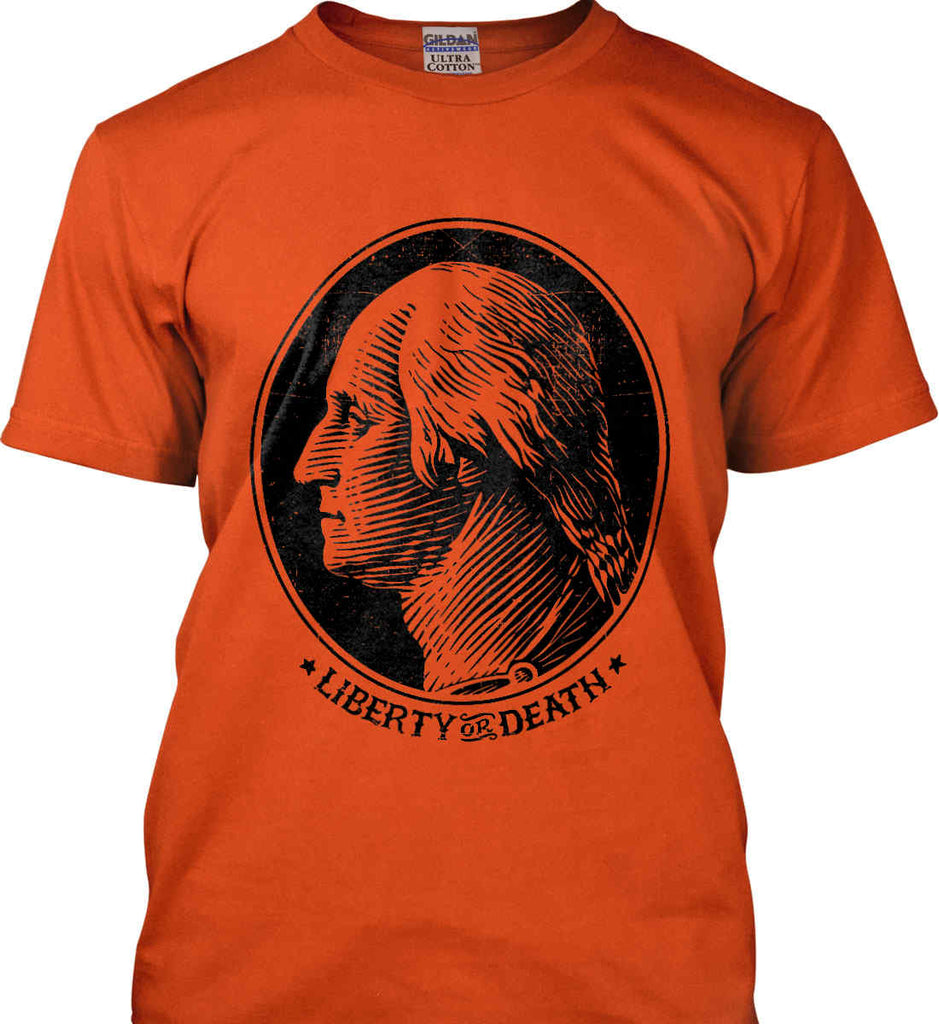 George Washington Liberty or Death. Black Print Gildan Ultra Cotton T-Shirt.-5