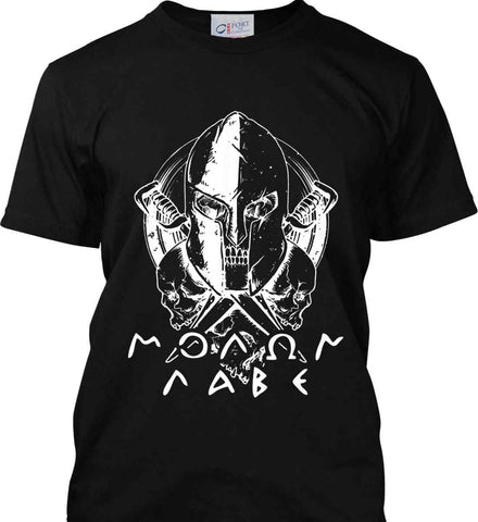 Molon Labe. Spartan. White Print. Port & Co. Made in the USA T-Shirt.