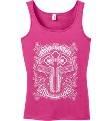 America Needs God and Guns. White Print. Women's: Anvil Ladies' 100% Ringspun Cotton Tank Top.