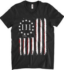 Three Percent on American Flag. Anvil Men's Printed V-Neck T-Shirt.