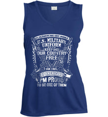 7% of Americans Have Worn a Military Uniform. I am proud to be one of them. White Print. Women's: Sport-Tek Ladies' Sleeveless Moisture Absorbing V-Neck.