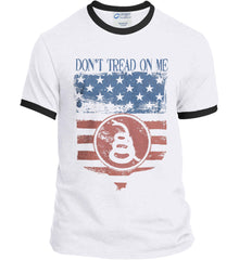 Don't Tread on Me. Rattlesnake. Faded Grunge Shield Port and Company Ringer Tee.