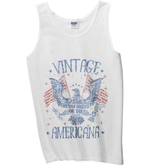 Vintage Americana Faded Grunge Gildan 100% Cotton Tank Top.