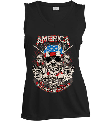 America. 2nd Amendment Patriots. Women's: Sport-Tek Ladies' Sleeveless Moisture Absorbing V-Neck.