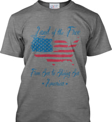 Land of the Free. From sea to shining sea. Port & Co. Made in the USA T-Shirt.