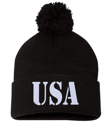 USA Patriot Hat Sportsman Pom Pom Knit Cap. (Embroidered)
