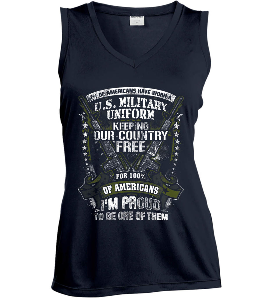 7% of Americans Have Worn a Military Uniform. I am proud to be one of them. Women's: Sport-Tek Ladies' Sleeveless Moisture Absorbing V-Neck.-2