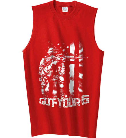 Got Your Six. Soldier Flag. White Print. Gildan Men's Ultra Cotton Sleeveless T-Shirt.