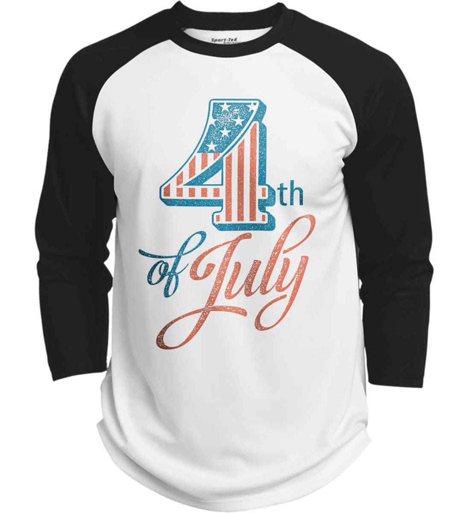 4th of July. Faded Grunge. Sport-Tek Polyester Game Baseball Jersey.-3