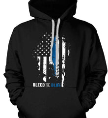Bleed the Blue. Grungy Blue Line Flag. Gildan Heavyweight Pullover Fleece Sweatshirt.