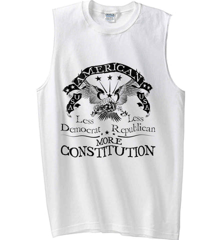 America: Less Democrat - Less Republican. More Constitution. Black Print Gildan Men's Ultra Cotton Sleeveless T-Shirt.