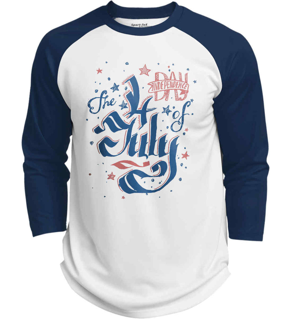 The 4th of July. Ribbon Script. Sport-Tek Polyester Game Baseball Jersey.-5