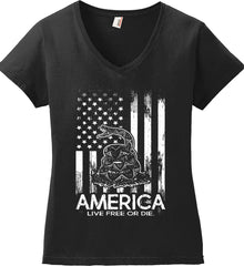 America. Live Free or Die. Don't Tread on Me. White Print. Women's: Anvil Ladies' V-Neck T-Shirt.
