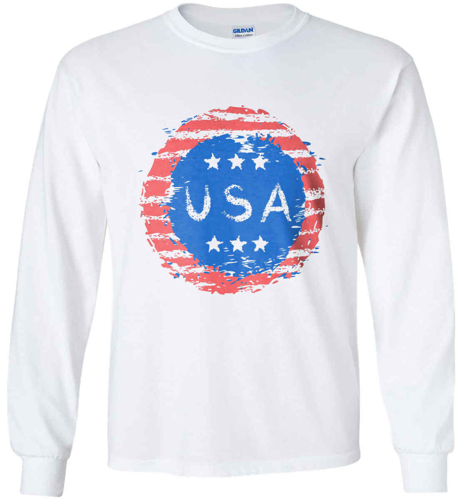 Grungy USA. Gildan Ultra Cotton Long Sleeve Shirt.-3