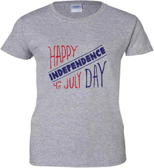 Happy Independence Day. 4th of July. Women's: Gildan Ladies' 100% Cotton T-Shirt.