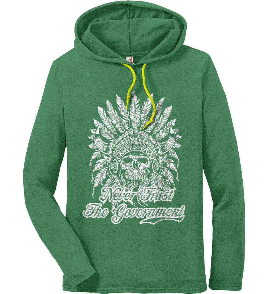 Never Trust the Government. Indian Skull. White Print. Anvil Long Sleeve T-Shirt Hoodie.-4