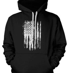 Grungy Grey USA Flag Gildan Heavyweight Pullover Fleece Sweatshirt.