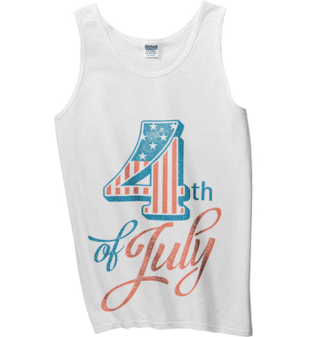 4th of July. Faded Grunge. Gildan 100% Cotton Tank Top.