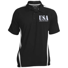 USA. American Patriot. Sport-Tek Men's Colorblock 3-Button Polo. (Embroidered)