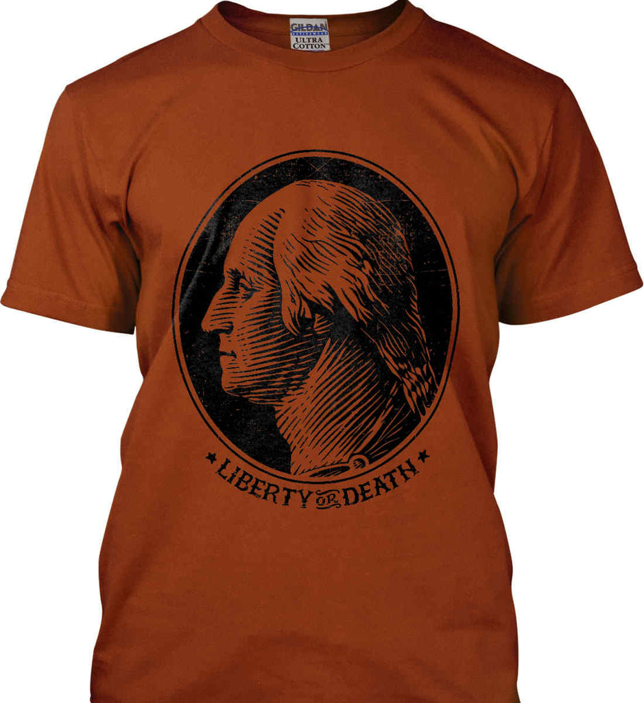 George Washington Liberty or Death. Black Print Gildan Ultra Cotton T-Shirt.-11