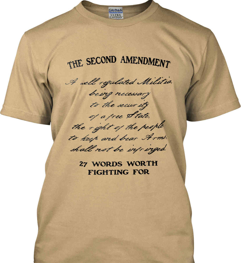 The Second Amendment. 27 Words Worth Fighting For. Second Amendment. Black Print. Gildan Ultra Cotton T-Shirt.-7