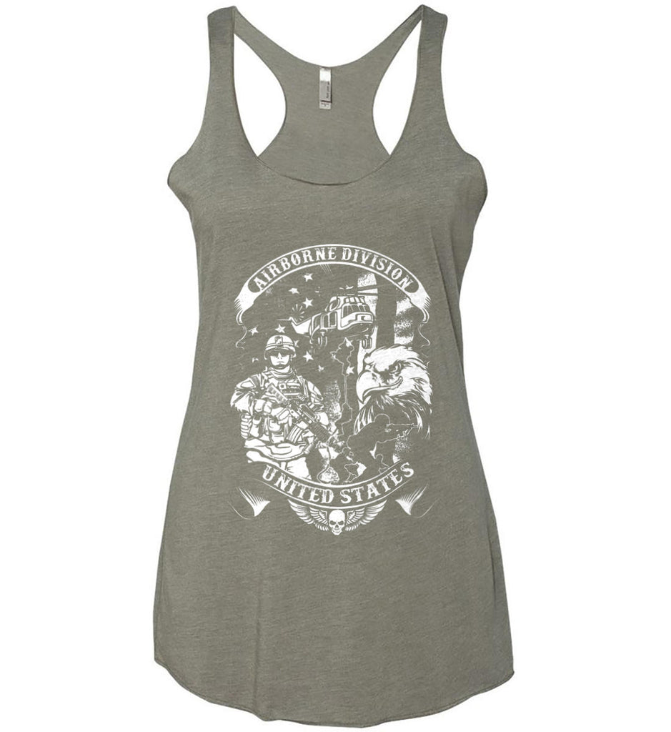 Airborne Division. United States. White Print. Women's: Next Level Ladies Ideal Racerback Tank.-8