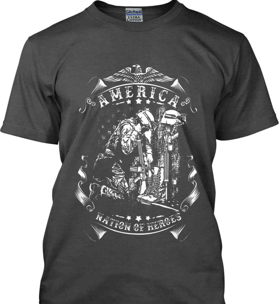 America A Nation of Heroes. Kneeling Soldier. White Print. Gildan Ultra Cotton T-Shirt.-3