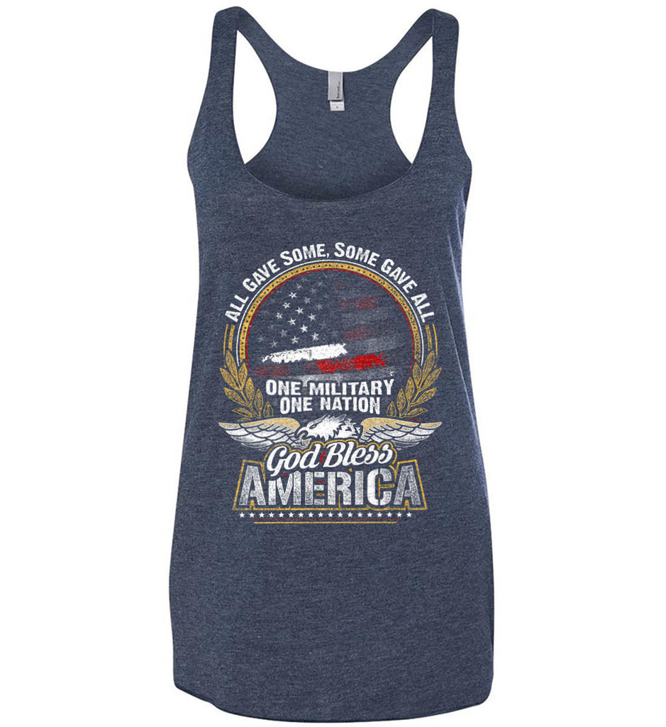 All Gave Some, Some Gave All. God Bless America. Women's: Next Level Ladies Ideal Racerback Tank.-1