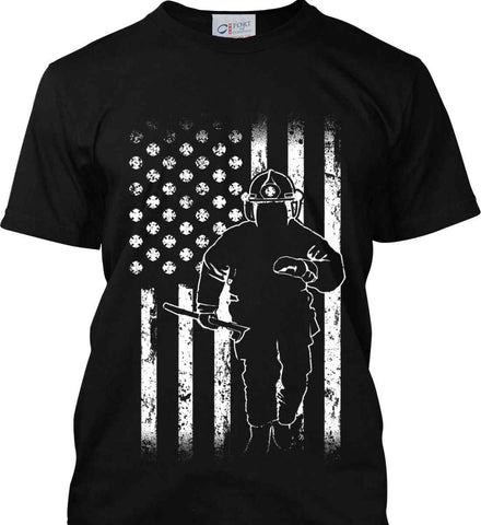 Firefighter American Flag. White Print. Port & Co. Made in the USA T-Shirt.
