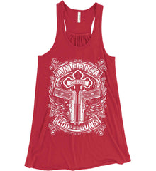 America Needs God and Guns. White Print. Women's: Bella + Canvas Flowy Racerback Tank.